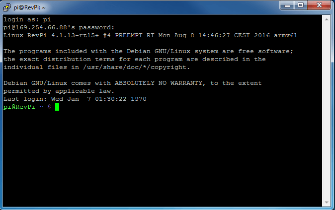 Putty connection has been established Screenshot