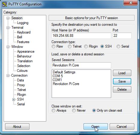 Open Putty connection Screenshot