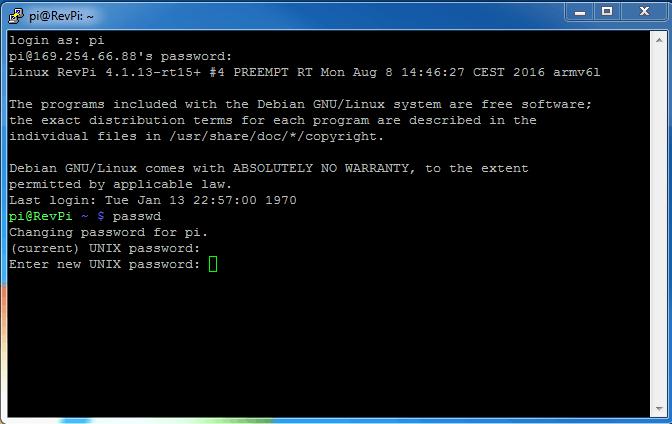 Eingabe neues Passwort Screenshot