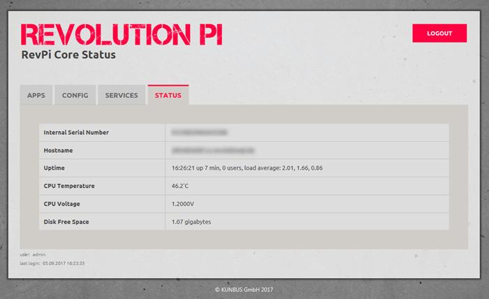 Status tab Screenshot
