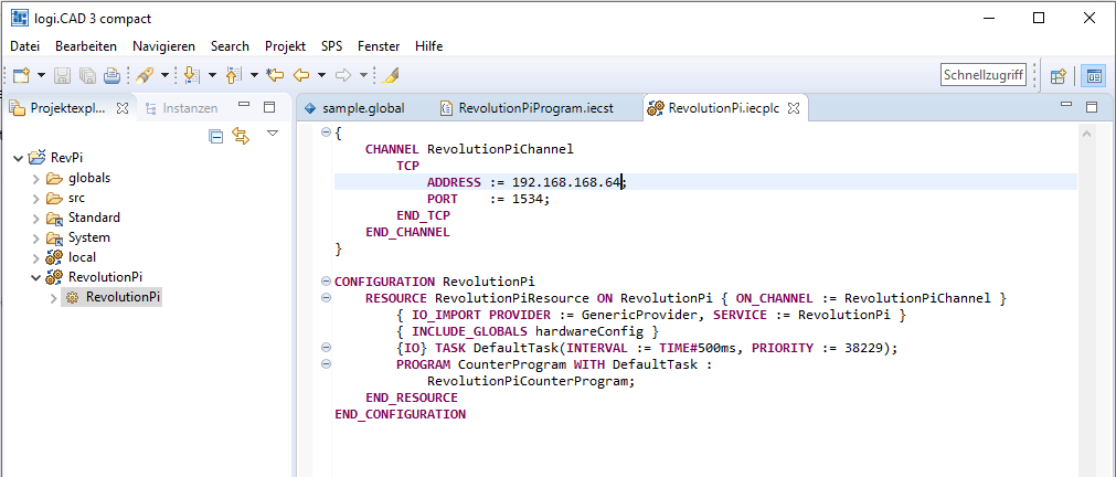 "Projekt ""RevolutionPi.iecplc"" Screenshot"