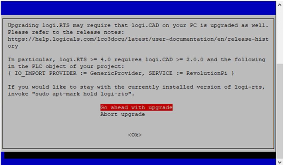 "Projekt ""Update Laufzeitsystem logi.RTS Warnung"" Screenshot"