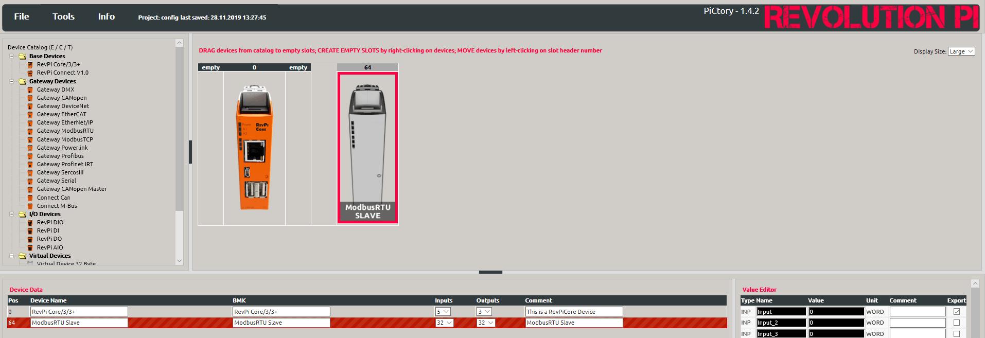 Modulkonfiguration über PiCtory Screenshot