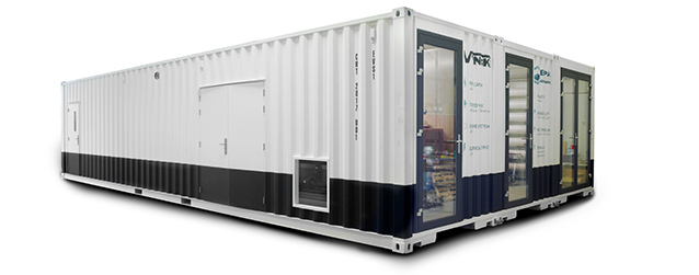 Image of an industrial process water purification system by Ekopak in a standard shipping container
