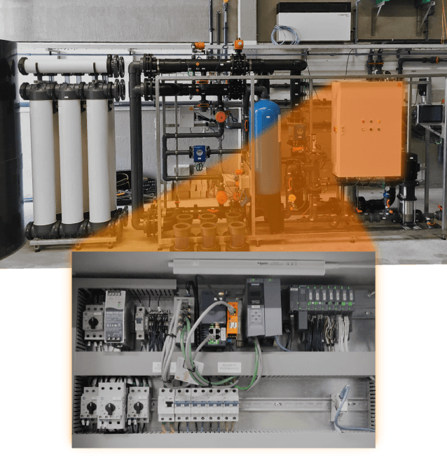 Image of the RevPi inside the control cabinet of the industrial process water purification system
